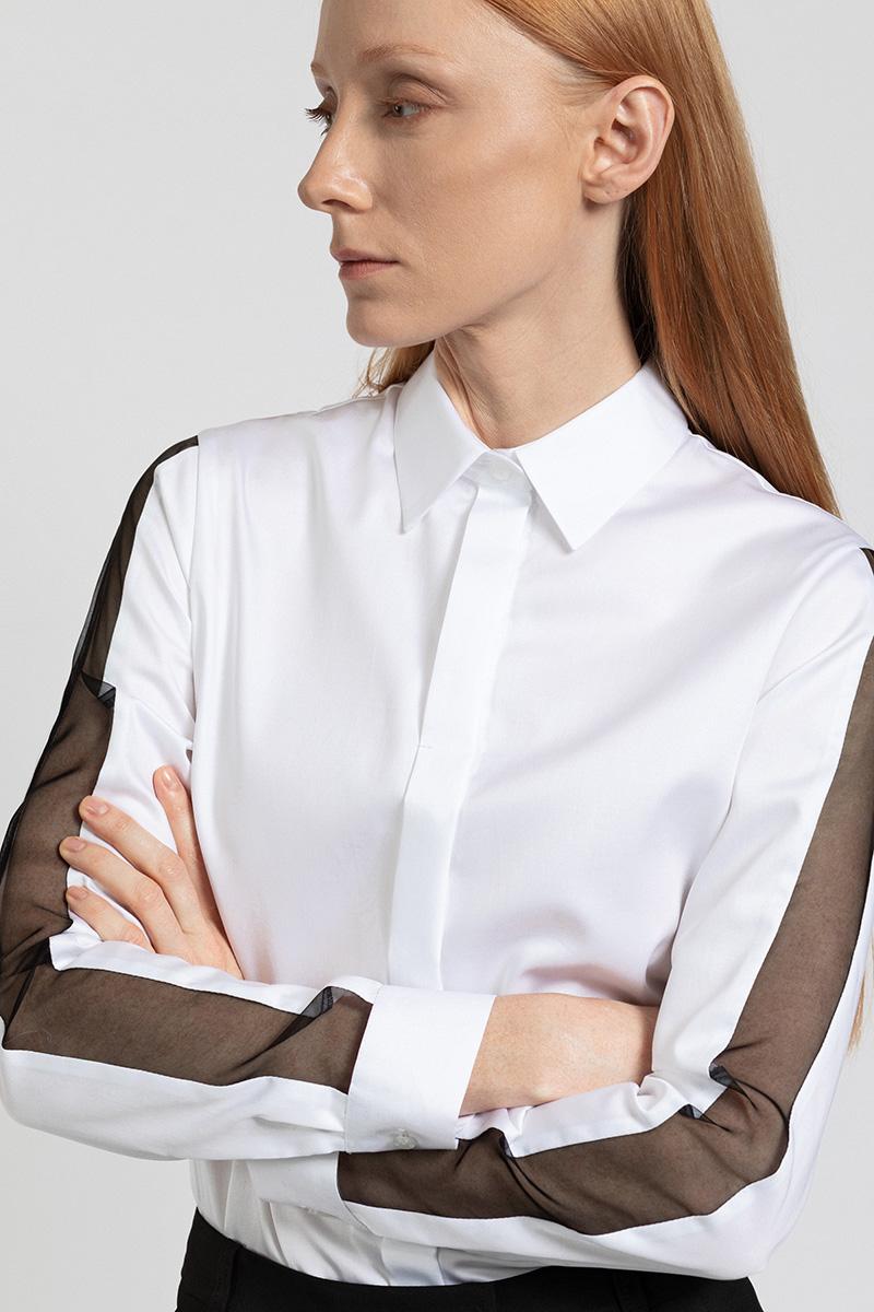 Блузка с полупрозрачными лампасами VASSA&Co фото