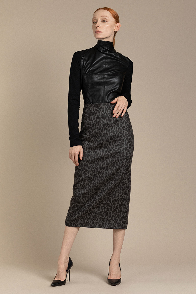 Удлиненная юбка с animal принтом VASSA&Co фото