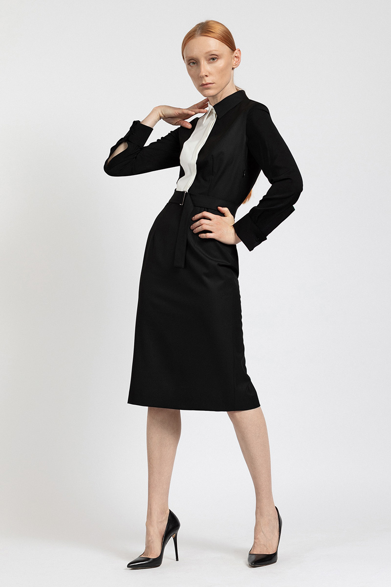 Платье-рубашка с контрастной деталью VASSA&Co фото