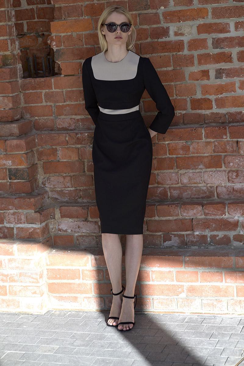 Комбинированное платье приталенного кроя VASSA&Co фото